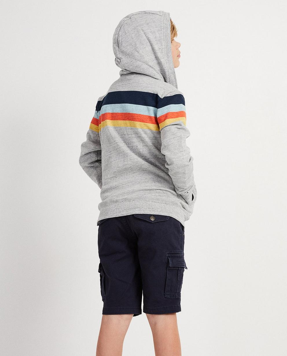 Strickjacken - Grau - Trainingsjacke mit Color-Block